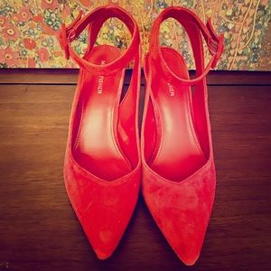 Red chunk heels with ankle strap